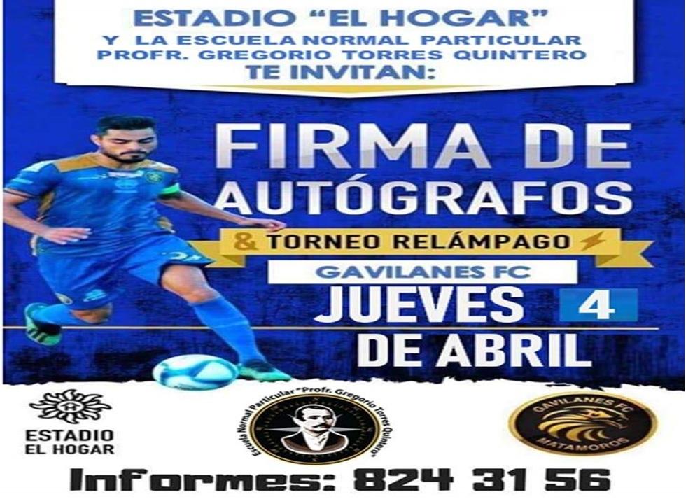 Firma de autógrafos en torneo relámpago, invitan Club Gavilanes mañana jueves